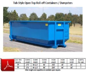 Tub Style Open Top Roll-off Container