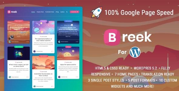 Breek v3.6.0 – Minimal Masonry Theme for WordPress Nulled