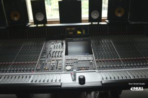 Big Room's mixing console at Real World Studio with Null Paradox. Photography by Tom Libertiny.