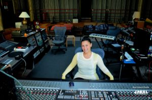 Rachel at the console of the Big Room at Real World Studio, England with Null Paradox. Photography by Tom Libertiny.