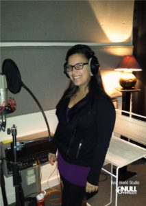 Rachel in the vocal booth at Real World Studios, England with Null Paradox. Photography by Tom Libertiny.