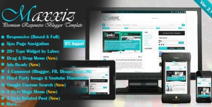 Maxxiz Responsive Magazine News Blogger Template Free Download