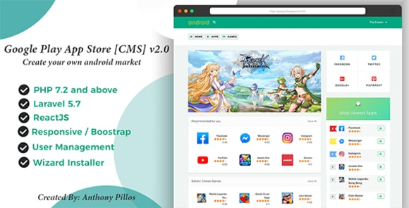 Google Play App Store CMS Script Nulled
