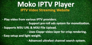 Moko IPTV Player IPTV Video Streaming Website Script