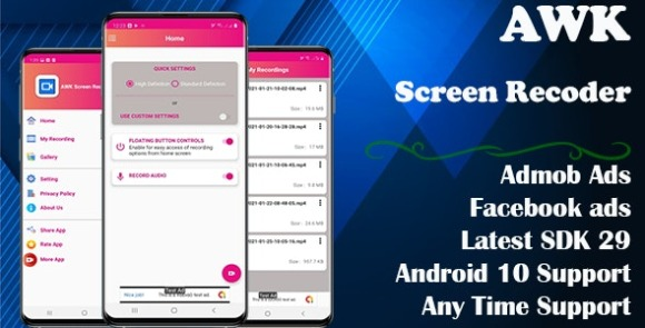 AWK Screen Recorder with Audio App Source