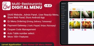 CHEF SaaS Contactless Multi-restaurant QR Menu Maker App
