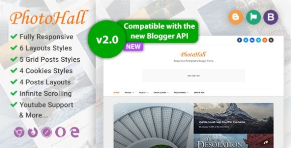 PhotoHall Responsive Photography Blogger Theme Download