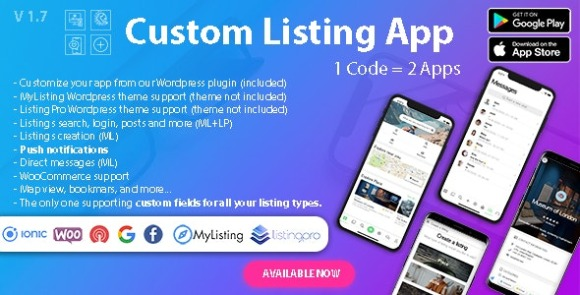 Custom Listing App - Directory Android and iOS mobile app with Ionic 5 for MyListing ListingPro
