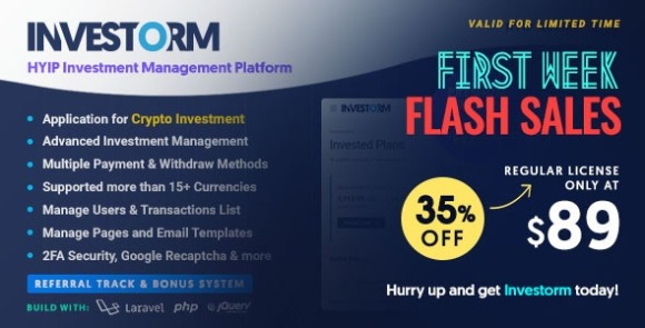 Investorm Advanced HYIP Investment Management Platform Nulled