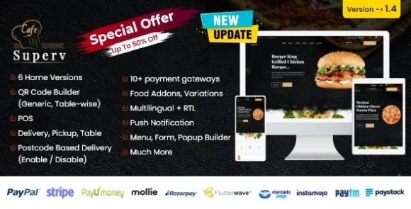 Superv Restaurant Website Management with QR Code Menu Script