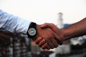 A handshake between two men.