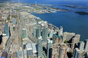 An aerial view of downtown Toronto.
