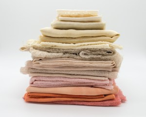Pile of cloth on a white surface