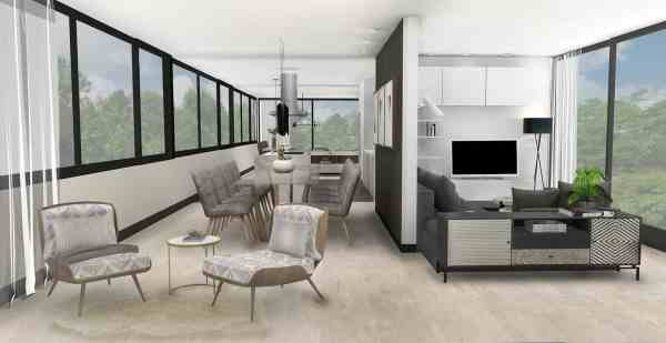 3D Interior Design, Combined Living & Dining Room