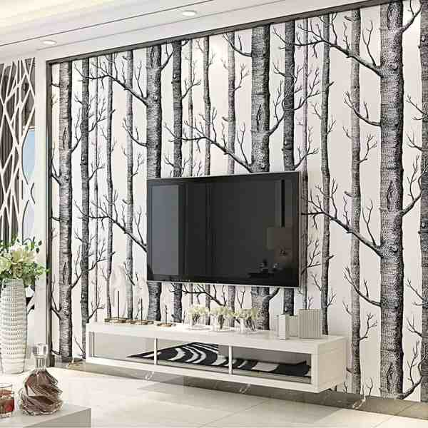 Shakin Stevens 'Woods' Birch Tree Wallpaper