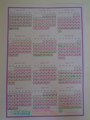 Calendar all marked out
