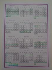 Calendar with school dates