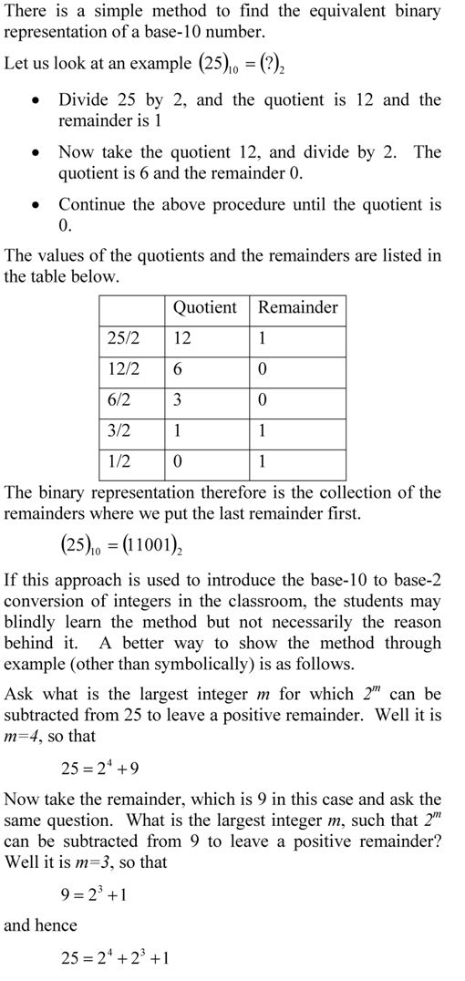 Decimal to binary conversion of an integer