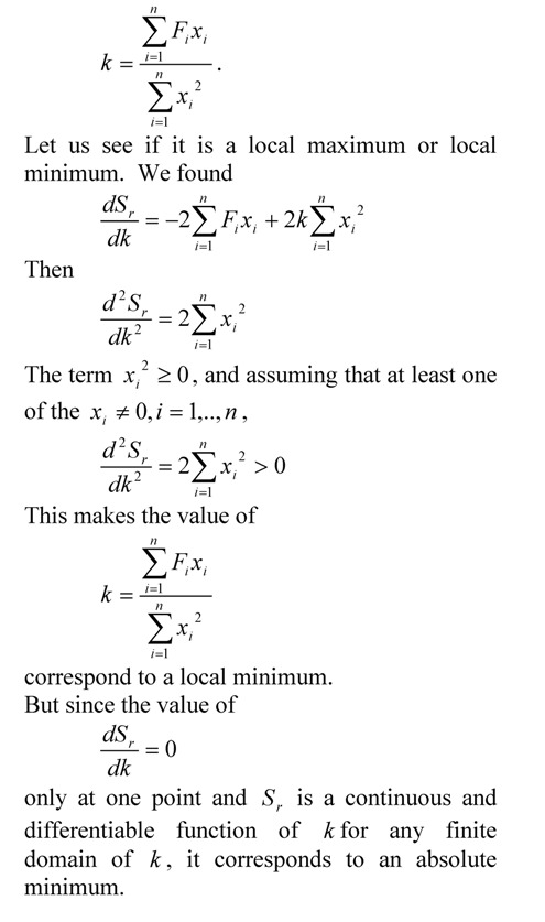 Minimum of sum of square of residuals
