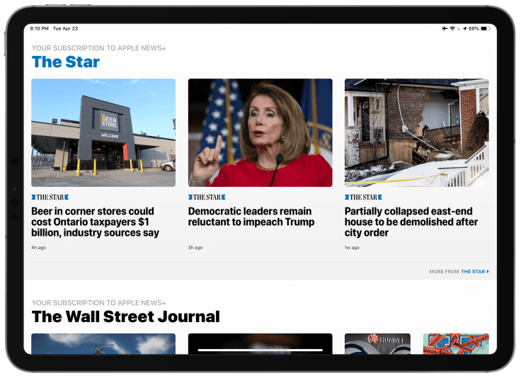 Browsing News Subscriptions Content