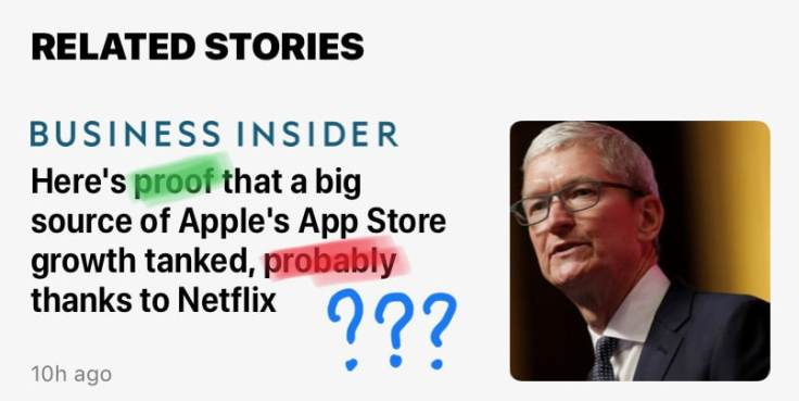 Business Insider playing with headlines.