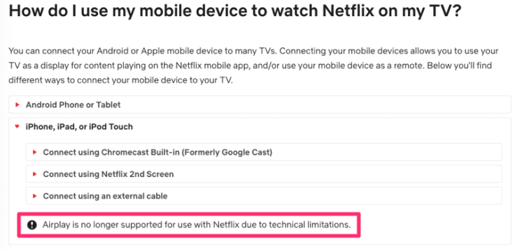 AirPlay no longer supported by Netflix