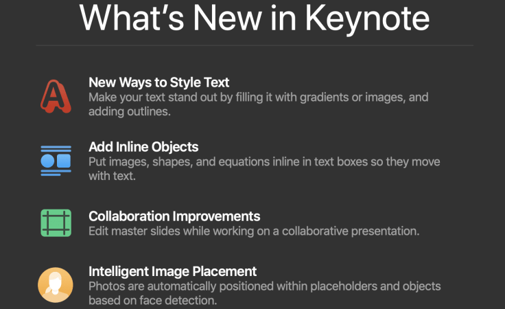Keynote Updated to version 8.1