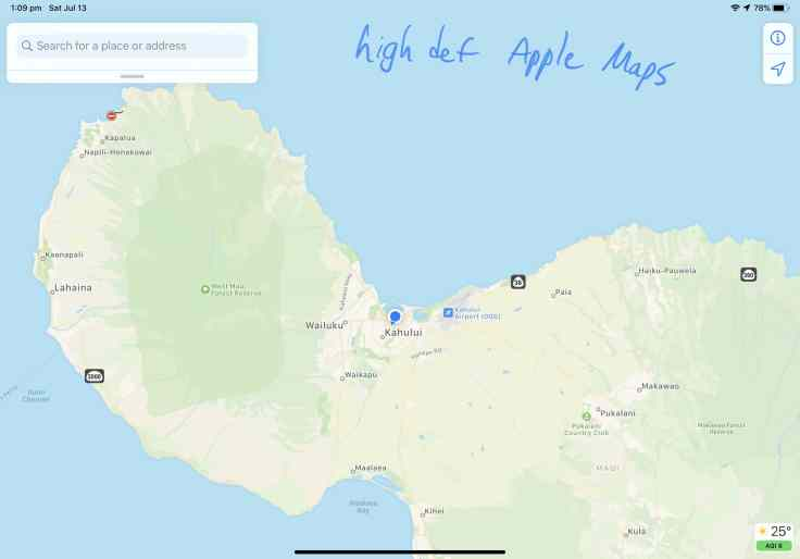 Apple's Maps Higher Definition in Hawaii