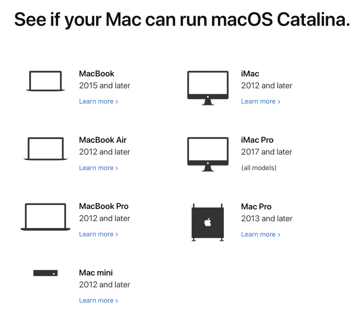 Supported Macs for macOS Catalina upgrade