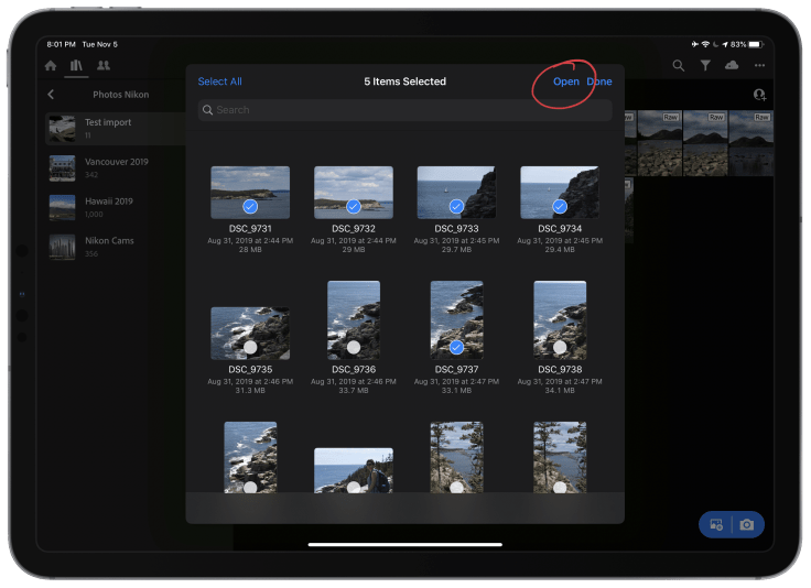 Importing photos in Lightroom