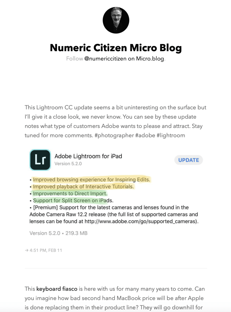 Numeric Citizen Micro Blog homepage