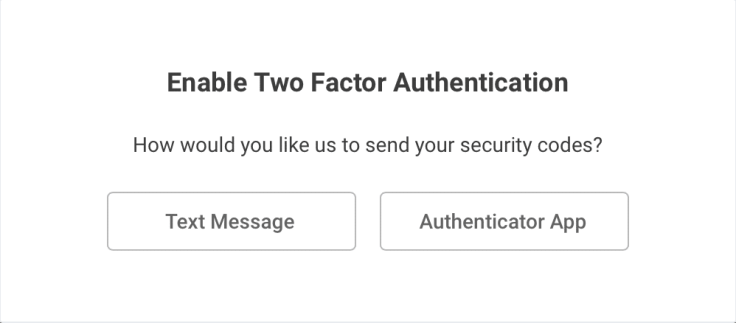 Enabling two factor authentication example