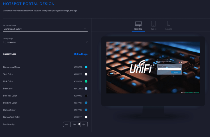 Designing a webpage for the guest network