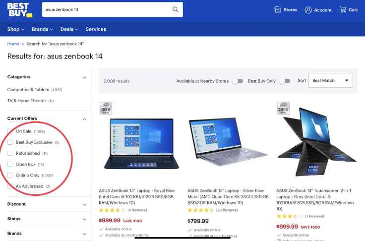 BestBuy ASUS ZenBook search results