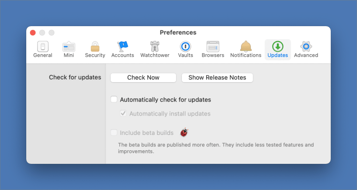 Turning off automatic updates