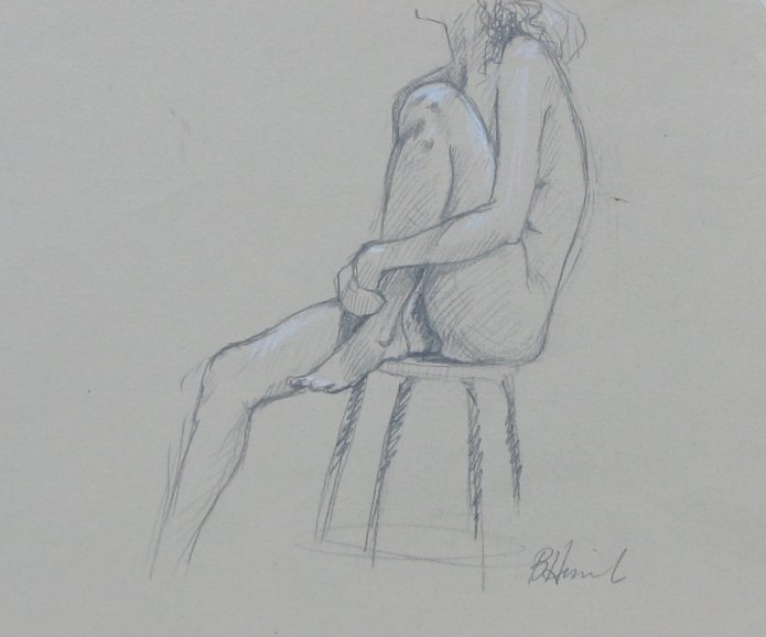sitting on stool nude