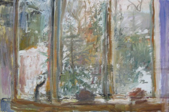 View through the Studio Window, 2013, oil on canvas, 36 x 54 in., collection of the artist