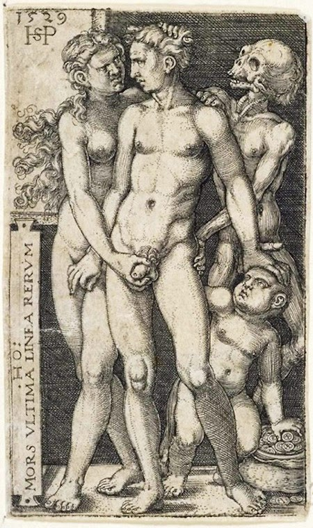 HANS SEBALD BEHAM Death and the Indecent Pair 1529 Engraving 150