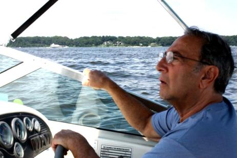 Jimmy in his boat on Long Island Sound, where we'll be scattering his ashes this summer.
