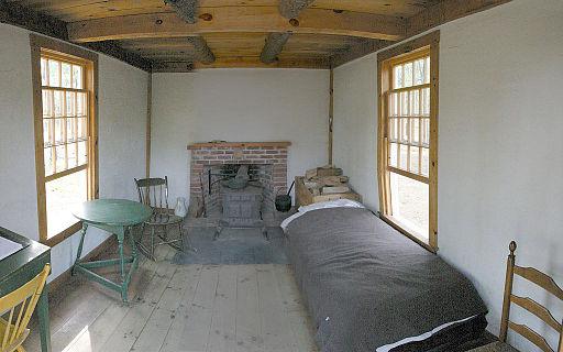 Inside Thoreau's cabin at Walden