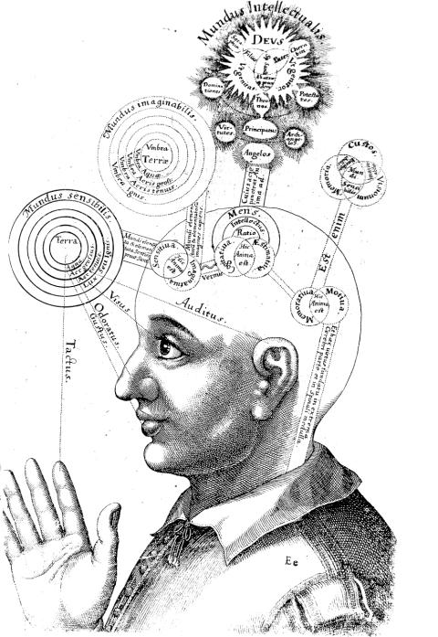 FLUDD Utriusque cosmi maioris scilicet et minoris [_] historia, tomus II (1619), tractatus I, sectio I, liber X, De triplici animae in corpore visione.