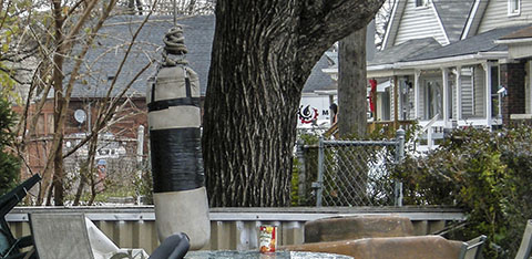 Punching bag in Hamilton ON backyard
