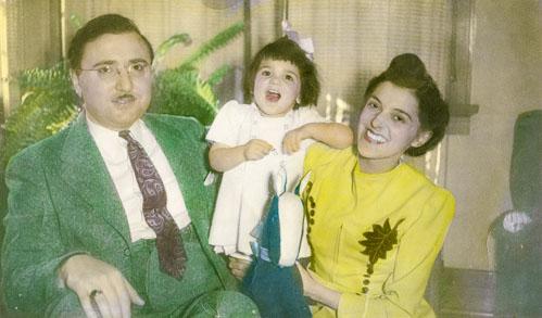 Karen Mulhallen age two with her parents