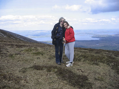 Amanda Bell and daughter near summit of Mount Nephin_1