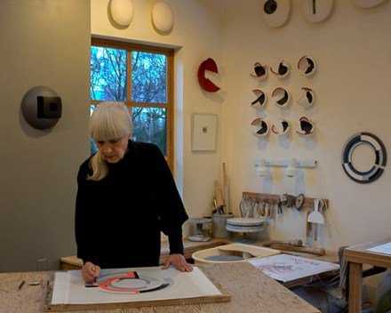 Anne Hirondelle working in studio