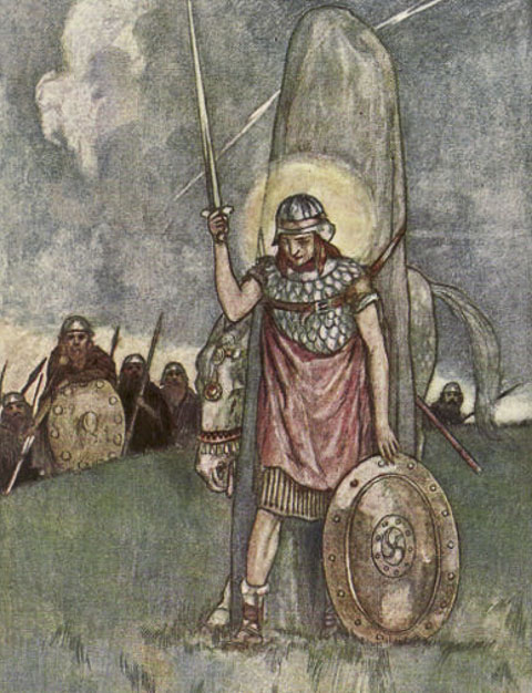 Cuchulain's death illus by Stephen Reid 1904