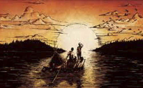 Huck Finn and Jim on the Mississippi drawing