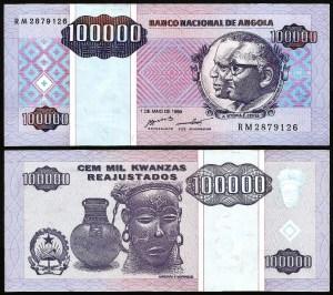 ANGOLA .n139 - 100.000 KWANZAS 'Agostinho Neto / José E. Santos' (1995) BELA +++++ VENDIDA +++++