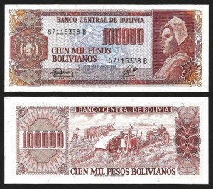 BOLÍVIA .n171 - 100.000 PESOS B (1984) NOVA 1