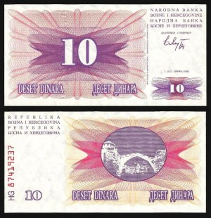 BÓSNIA-HERZEGOVINA .n010 - 10 DINARES (1992) NOVA